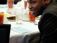Edgewood's Josh Crawford reacts Wednesday as his name is announced as a nominee for the AISA Back of the Year.