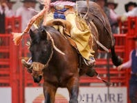 Jake Costello of Newell, S.D., is one of the top saddle bronc stars in the Montana Pro Rodeo Circuit. He will be competing this weekend at Four Seasons Arena. TRIBUNE FILE PHOTO/LARRY BECKNER