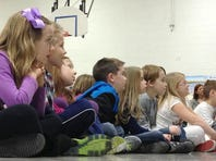 "Members of SRO Lyric Theatre perform an educational tour production of ""The Three Little Pigs"" for first-grade students at McBride Elementary School. They are, from left, Jacob Houseman as Don Giovanni, Caleb Schatz as Cherubino and Aubrey Smith as Despina. Also performing Tuesday were Seth Hunt as Wolfgang Big Bad and Jimmy Benecasa on piano."