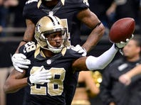 New Orleans Saints cornerback Keenan Lewis (28) celebrates an interception against Tampa Bay. Lewis, who suffered a concussion against Philadelphia, says he will return this week.