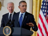 President Barack Obama, accompanied by Vice President Joe Biden, speaks Wednesday at the White House before signing a memorandum creating a task force to respond to campus rapes.