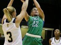 FGCU's Jenna Cobb shoots against FIU earlier this season.