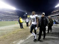 New Orleans Saints' Keenan Lewis walks to the locker room after an injury during an NFL wild-card game against the Philadelphia Eagles on Saturday. Lewis is expected to play against the Seattle Seahawks on Saturday.