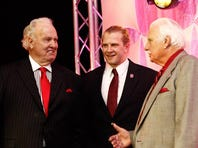 Paul Hornung and Howard Schnellenberger chat on stage after Stanford's Owen Marecic receved 2010 Paul Hornung Award — the first one — at a ceremony at the Galt House.
