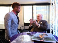 Paul Hornung award winner Odell Beckham, who played football for LSU, receives advice from the Hall of Famer for whom the award is named.