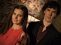"""Louise Brealey, left, as Molly Hooper and Benedict Cumberbatch as Sherlock Holmes, in a scene from Season 3, """"The Empty Hearse"""" episode of Masterpiece's """"Sherlock,"""" which aired Sunday on PBS. Steven Moffat, co-creator of """"Sherlock,"""" said the show is a hit in China and many other countries."""