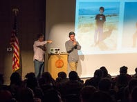 Jordan and Paul Romero speak with students during the Leaders for Life Conference in Park City in November 2013.
