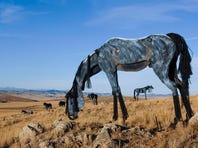 Jim Dolan stands near three horses that are part of an art installation near Three Forks.