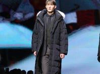 A model wears a creation for Ermenegildo Zegna men's Fall-Winter 2014 collection, part of the Milan Fashion Week, unveiled in Milan, Italy, Saturday.