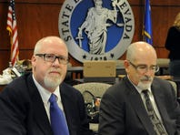Harvey Whittemore, left, with his attorney Bill Bradley, appears before a Nevada State Bar Disciplinary panel Friday Jan. 10, 2014.
