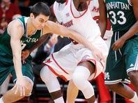 Marist College freshman guard Khallid Hart defends against Manhattan on Friday, Dec. 6, 2013 in the McCann Arena.