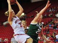 USD's Margaret McCloud goes up for a shot during the Coyotes' 74-70 win over Cleveland State on Saturday. McCloud scored 17 points.