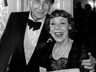 """Comedians Sid Caesar, left, and Imogene Coca in New York for the Museum of Broadcasting's first annual """"Salute to Television"""" in 1990."""