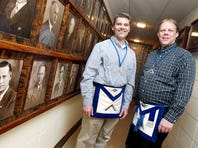 Dave O'Neill, (left), Worshipful Master of the La Crosse Masonic Lodge No. 190, and Randy Erickson, Worshipful Master of the Frontier Badger Lodge No. 45, stand in the Masonic Center in La Crosse, Wis.