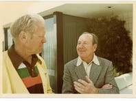 """Walter Annenberg, Ronald Reagan and Thomas """"Tip"""" O'Neill on the golf course. (Courtesy of Sunnylands)"""