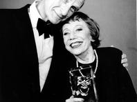 This May 18, 1988, file photo shows Imogene Coca, right, and Sid Caesar after Coca won the female Life Achievement in Comedy award at the American Comedy Awards in Los Angeles. Caesar, whose sketches lit up 1950s television with zany humor, died Wednesday, Feb. 12, 2014. He was 91. (AP Photo, File)