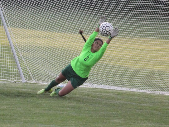 Novi goalie Aastha Dharia makes the diving stop against
