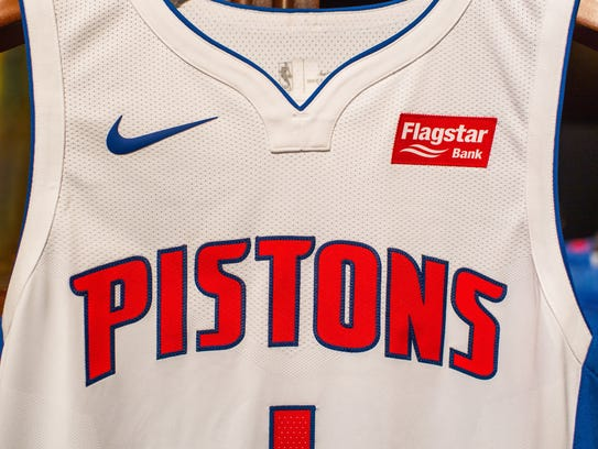 The Detroit Pistons' new Nike uniform, complete with