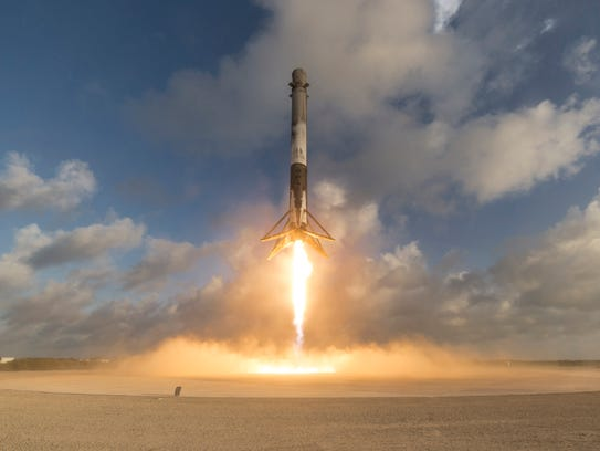 A SpaceX Falcon 9 first stage lands at Cape Canaveral