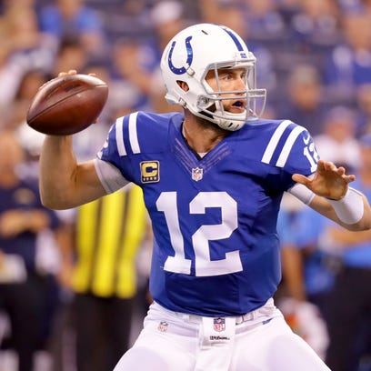 Indianapolis Colts quarterback Andrew Luck (12) looks
