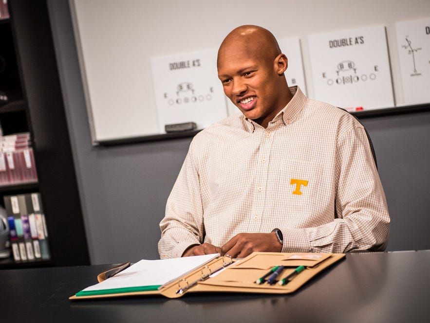Josh Dobbs during the 2017 class at Gruden Camp