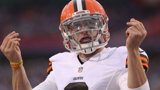 Browns quarterback Johnny Manziel celebrates after scoring a touchdown in the second half against the Buffalo Bills on Nov. 30.