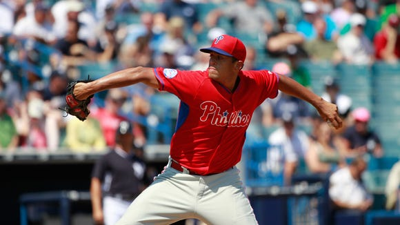 Phillies relief pitcher Mario Hollands (43) throws a pitch during the fourth inning Thursday against the New York Yankees at George M. Steinbrenner Field. Credit: Kim Klement-USA TODAY Sports