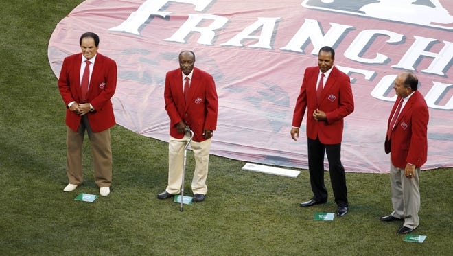 Four Cincinnati Reds legends took the field Tuesday night as the Franchise Four - (left to right) Pete Rose, Joe Morgan, Barry Larkin and Johnny Bench - during a pregame ceremony at Tuesday's All-Star Game.