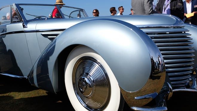 Whitewalls loom large on this 1937 Delahaye at the 2015 Concours d'Elegance, held at Pebble Beach Golf Links on Sunday.
