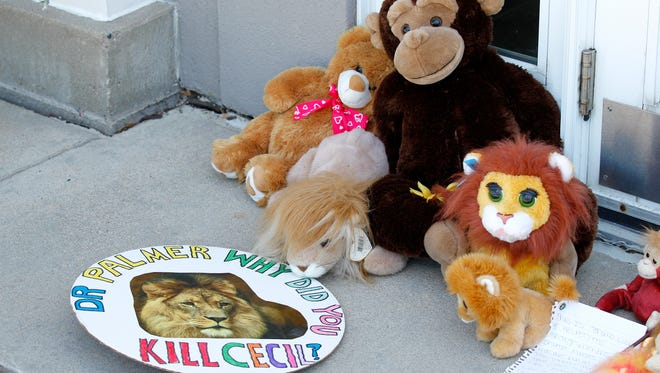 Stuffed animals and notes collect outside Dr. Walter James Palmer's dental office in Bloomington, Minn., Wednesday, July 29, 2015. Palmer reportedly paid $50,000 to track and kill Cecil, a black-maned lion, just outside Hwange National Park in Zimbabwe. (AP Photo/Ann Heisenfelt)