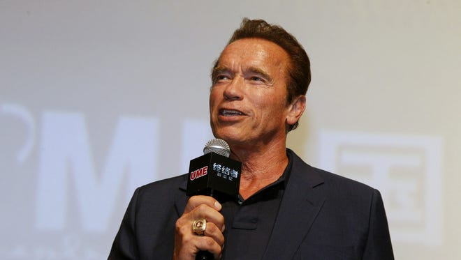 Arnold Schwarzenegger promoting 'Terminator Genisys' in Shanghai, China, on August 18, 2015.