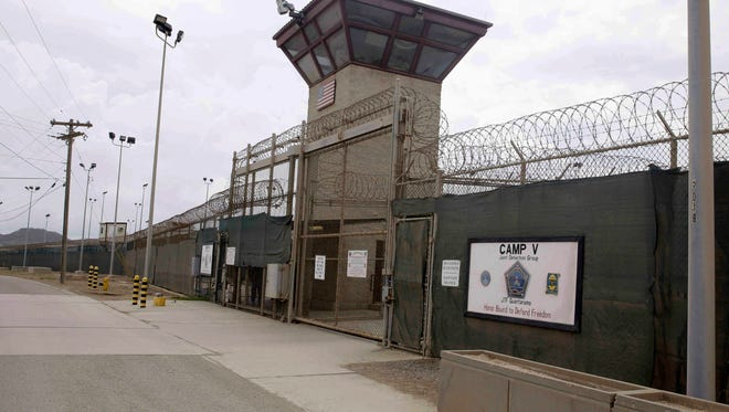In this June 7, 2014 file photo, the entrance to Camp 5 and Camp 6 at the U.S. military's Guantanamo Bay detention center, at Guantanamo Bay Naval Base, Cuba.