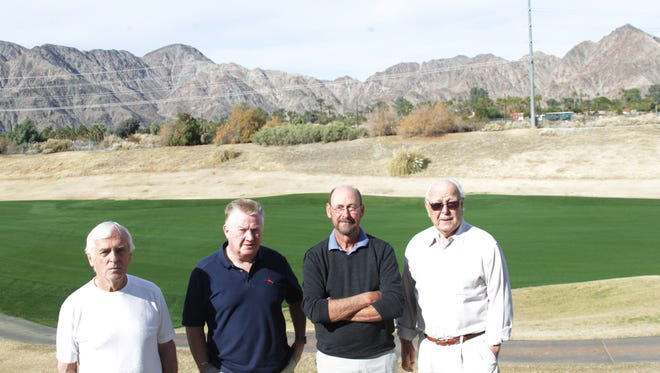 From left Walt Sorenson, Terry Dyllman, Dennis Peck, Warren Palmer are opposed to a proposal for a development on the corner of 50th Avenue and Washington Street in La Quinta. The property is visible in the distance in this photo.