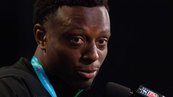 Ohio State defensive back Eli Apple speaks to the media during the 2016 NFL Scouting Combine at Lucas Oil Stadium.