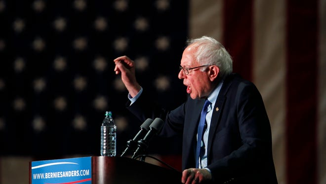 Democratic presidential candidate, Sen. Bernie Sanders, I-Vt., speaks at a campaign rally at the Phoenix Convention Center in Phoenix, Tuesday, March 15.