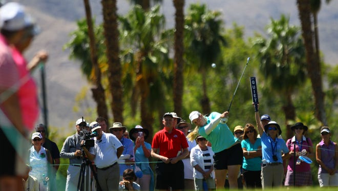 Brittany Lincicome tees off on 17 during the second round of the ANA Inspiration on Friday, April 1, 2016.