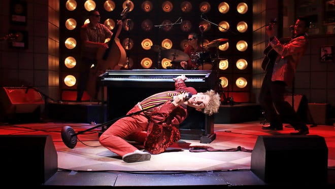 """Nat Zegree as Jerry Lee Lewis in """"Million Dollar Quartet,"""" now onstate at Flat Rock Playhouse."""