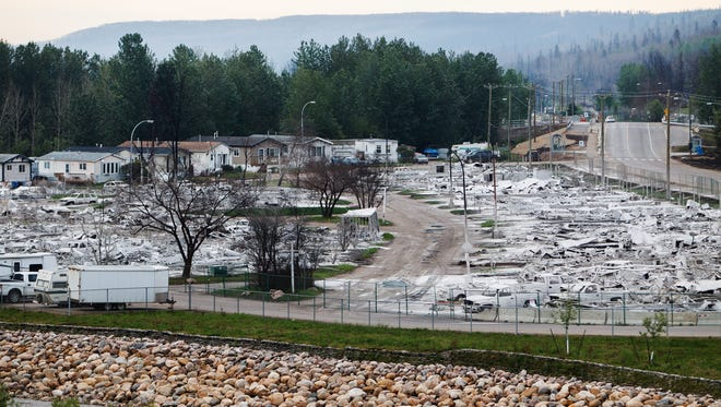 Devastation from the wildfire that tore through the city is seen as residents re-enter fire-ravaged Fort McMurray, Alberta, on Wednesday, June 1, 2016.