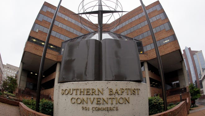 This Dec. 7, 2011 file photo shows the headquarters of the Southern Baptist Convention in Nashville. The Southern Baptists lost more than 200,000 members in 2015. It's the ninth straight year of decline for the nation's largest Protestant denomination, which also saw baptisms drop by more than 10,000 in 2015.