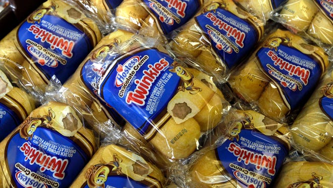 Twinkies baked goods are displayed for sale at the Hostess Brands' bakery in Denver on Nov. 16, 2013. Hostess is trying to rebuild the iconic treat.