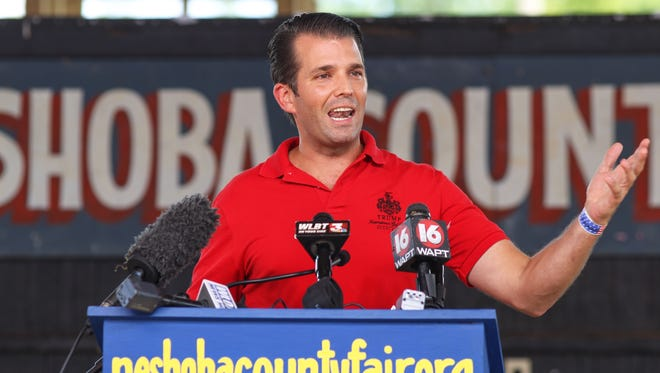 Donald Trump Jr., son of Republican presidential candidate Donald Trump, delivers a speech on behalf of his father as he campaigns at the Neshoba County Fair in Philadelphia on Tuesday.