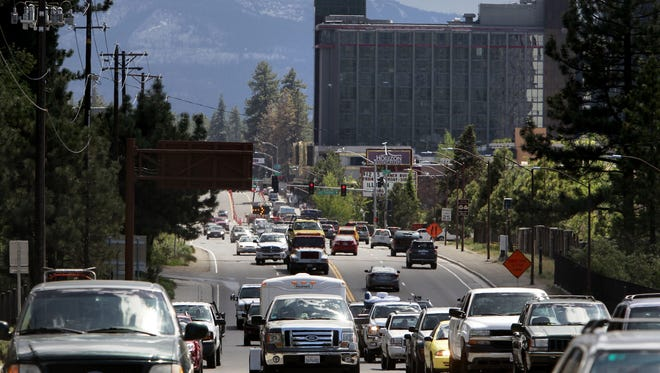 File photo: Traffic makes its way through Stateline, Nev. on the south shore of Lake Tahoe.