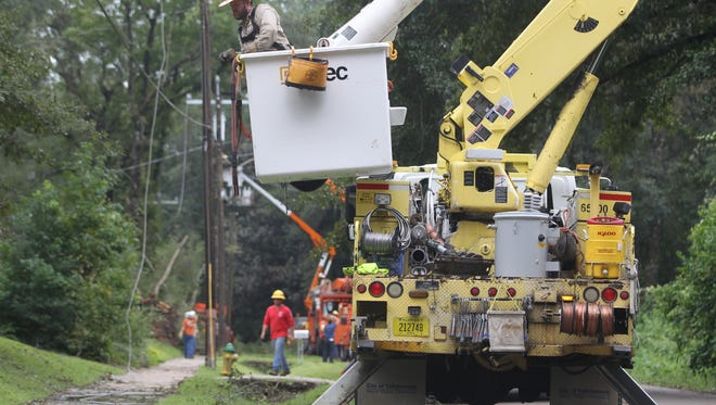 City of Tallahassee utility workers restore power in Indian Head Acres after Hurricane Hermine. City crews could be headed to other parts of the state later this week if Hurricane Matthew makes landfall in Florida.