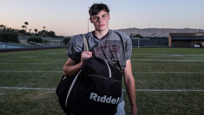 Rancho Mirage kicker Daniel Whelan on Wednesday, September 7, 2016 at Rancho Mirage High School. Whelan missed a 65-yard field goal by a few feet last Friday almost beating the NFL record of 64-yard.