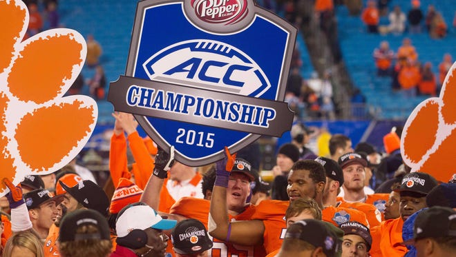 The Clemson Tigers celebrate their 2015 ACC title.
