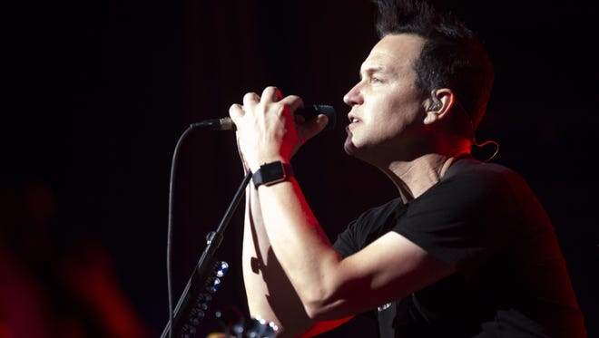 Mark Hoppus performs with Blink-182 at the Ak-Chin Pavilion in Phoenix on Saturday, Sept. 24, 2016.