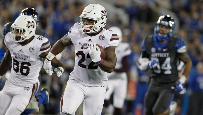 Mississippi State's Malik Dear runs against Kentucky during Saturday's game.