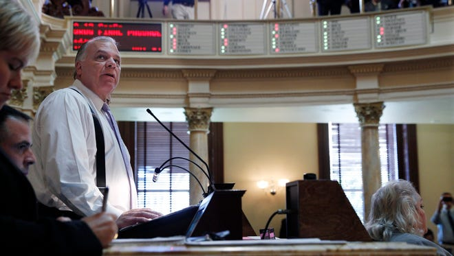 State Senate President Stephen M. Sweeney watches as the Senate passes a tax-increase bill Friday, Oct. 7.