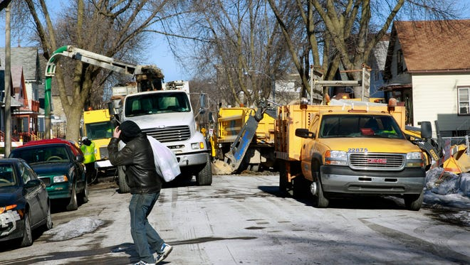 Milwaukee Public Works Department work on city-owned section of a lead service lateral earlier this year.