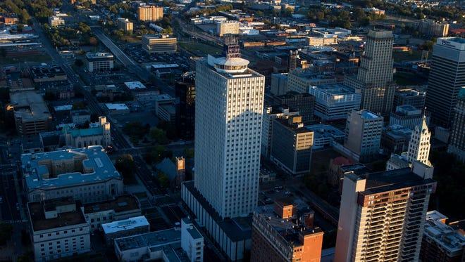November 9, 2016 - 100 North Main, center, is Memphis' tallest building.